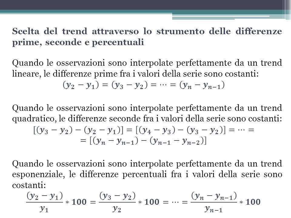 Scelta del trend attraverso lo strumento delle differenze prime, seconde e percentuali Quando le osservazioni sono interpolate perfettamente da un trend lineare, le differenze prime fra i valori della serie sono costanti: 𝒚 𝟐 − 𝒚 𝟏 = 𝒚 𝟑 − 𝒚 𝟐 =…= 𝒚 𝒏 − 𝒚 𝒏−𝟏 Quando le osservazioni sono interpolate perfettamente da un trend quadratico, le differenze seconde fra i valori della serie sono costanti: 𝒚 𝟑 − 𝒚 𝟐 − 𝒚 𝟐 − 𝒚 𝟏 =[ 𝒚 𝟒 − 𝒚 𝟑 − 𝒚 𝟑 − 𝒚 𝟐 ]=…= =[ 𝒚 𝒏 − 𝒚 𝒏−𝟏 − 𝒚 𝒏−𝟏 − 𝒚 𝒏−𝟐 ] Quando le osservazioni sono interpolate perfettamente da un trend esponenziale, le differenze percentuali fra i valori della serie sono costanti: 𝒚 𝟐 − 𝒚 𝟏 𝒚 𝟏 ∗𝟏𝟎𝟎= 𝒚 𝟑 − 𝒚 𝟐 𝒚 𝟐 ∗𝟏𝟎𝟎=…= 𝒚 𝒏 − 𝒚 𝒏−𝟏 𝒚 𝒏−𝟏 ∗𝟏𝟎𝟎